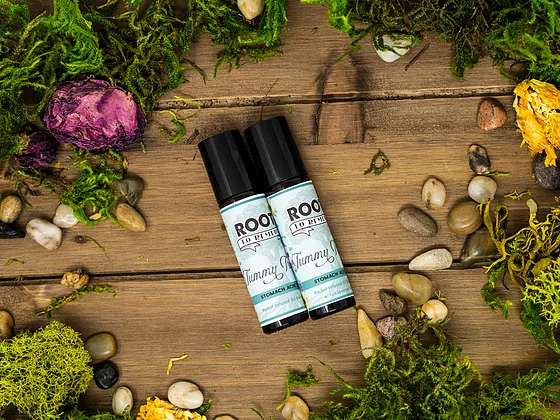 """""""Tummy Trouble"""" Stomach Ache Relief Herbal Roll On - RootsToRemedies.com"""